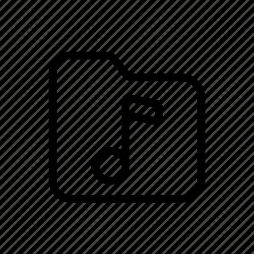 computer, folder, line, music, sound, ui, web icon