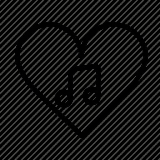 heart, love, music, note, romantic, sound, ui icon