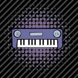 comics, instrument, keyboard, music, piano, sound, synthesizer icon
