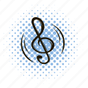 clef, comics, key, music, note, sound, treble icon