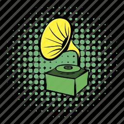 audio, comics, gramophone, horn, music, speaker, vintage icon
