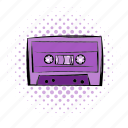 audio, cassette, comics, music, player, sound, tape icon