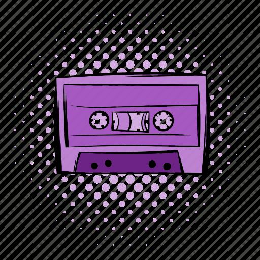 audio, cassette, comics, music, player, sound, tape icon