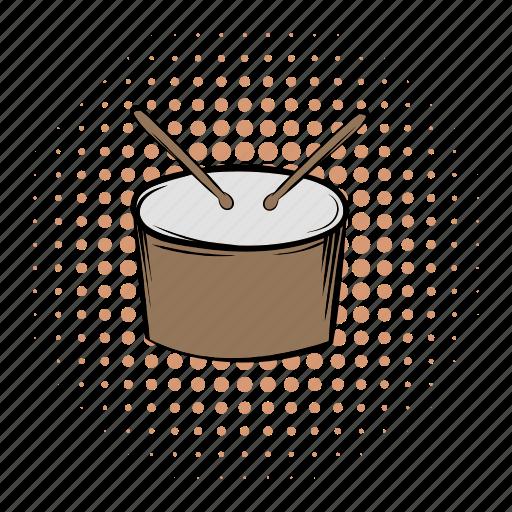 comics, drum, instrument, music, musical, percussion, sound icon
