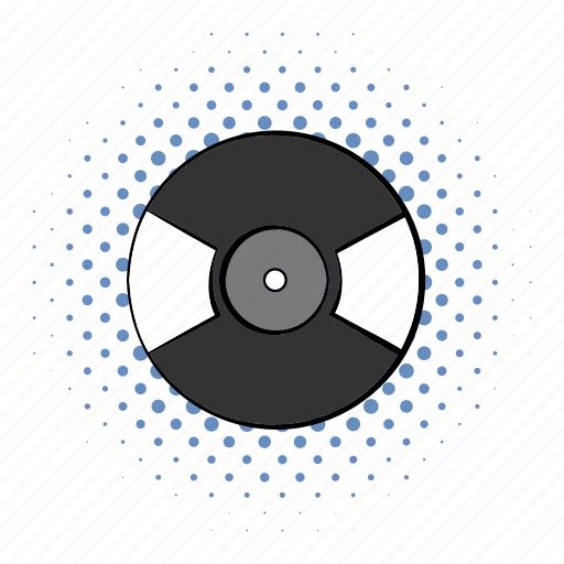 audio, comics, disco, label, music, retro, sound icon