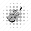 comics, grey, instrument, music, musical, string, violin icon