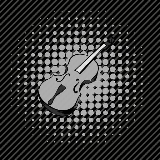 comics, grey, instrument, music, musical, string, violin icon