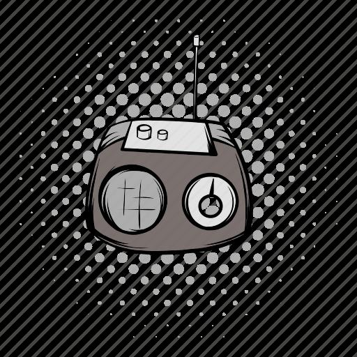 comics, equipment, music, radio, retro, sound, technology icon