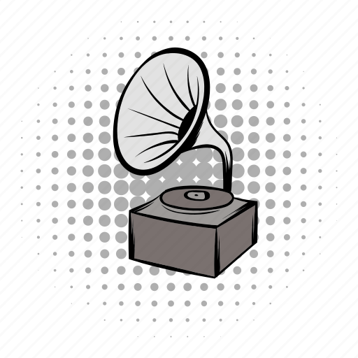 classical, comics, doodle, gramophone, grey, instrument, phonograph icon