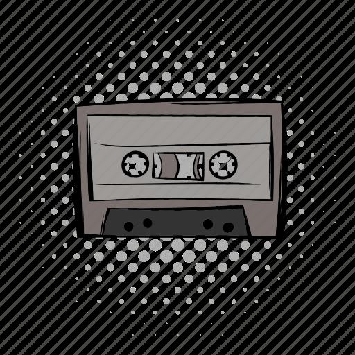 audio, cassete, comics, music, retro, sound, tape icon
