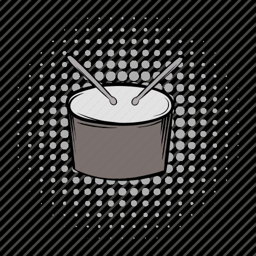 comics, drum, grey, instrument, music, musical, sound icon