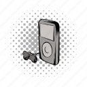 comics, headphones, hipster, media, mp3, music, player icon