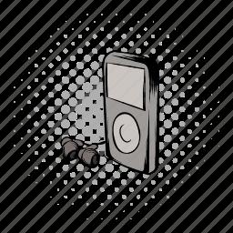 comics, headphones, hipster, media, mp3, music, player icon