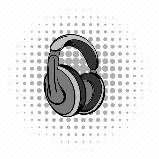 audio, big, comics, grey, headphones, music, sound icon