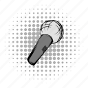 audio, comics, grey, karaoke, mic, microphone, wireless icon