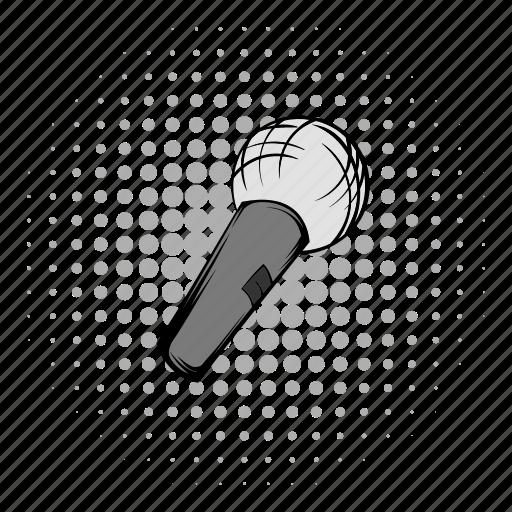 audio, comics, grey, karaoke, mic, microphone, wireless icon