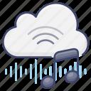 cloud, digital, internet, music icon