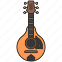 folk, instrument, mandolin, traditional, wooden icon