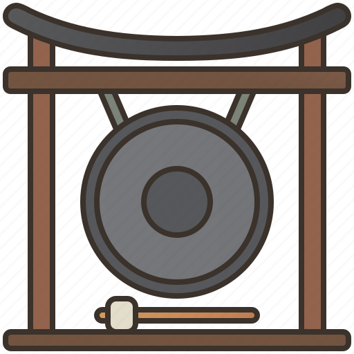 asian, gong, instrument, sound, traditional icon