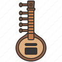 indian, instrument, musical, sitar, string icon