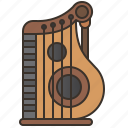 instrument, music, string, traditional, zither icon