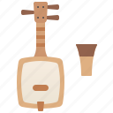 instrument, japanese, shamisen, string, traditional icon