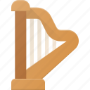 harph, instrument, music, play