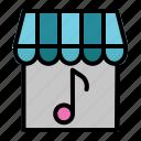 music, music shop, music store, place, shop icon