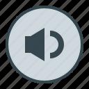 down, media, music, sound, volume