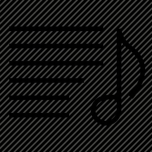 audio, lyrics, music, musical notes, note icon