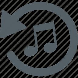 arrow, media, music, note, sound icon