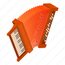 accordion, classic, equipment, instrument, isometric, logo, object