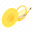 audio, band, bass, isometric, logo, object, trombone