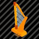 ancient, cartoon, d514, harp, isometric, logo, object