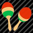 carribean, crossed, dance, isometric, logo, maracas, object