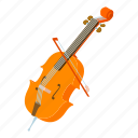 fiddle, instrument, isometric, logo, music, object, violin