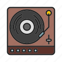 musical, retro tool, turntable, vinyl icon