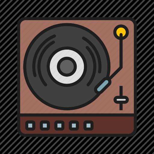 musical, retro tool, turntable, vinyl icon