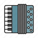 accordion, music, musical tool, play on accordion icon