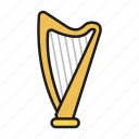 harp, music, musical instrument, play on harp icon