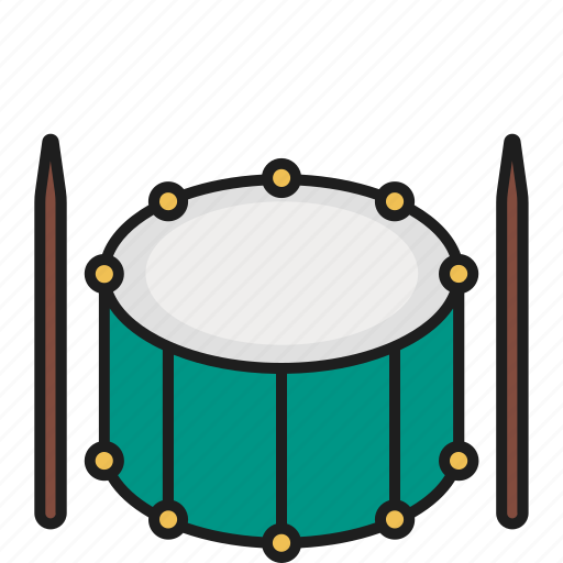 drum, drumstick, hit, music icon