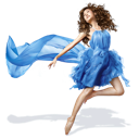 blue, dress, girls icon
