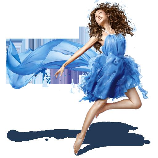 blue, dress, girls icon