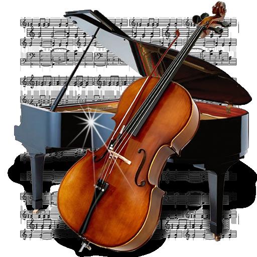 &, chello, music, piano icon