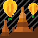 ancient, architecture, bagan, balloon, building, landmark, myanmar icon