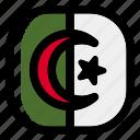 algeria, national, world, flag, country, nation, square icon