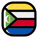 comoros, national, world, flag, country, nation, square icon