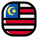 malaysia, national, world, flag, country, nation, square icon