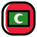 maldives, national, world, flag, country, nation, square icon