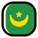 mauritania, national, world, flag, country, nation, square icon